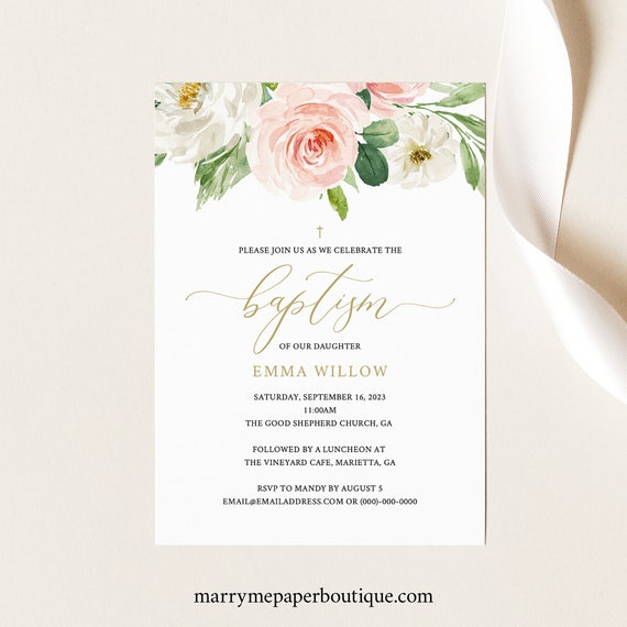 Baptism Invitation Template, TRY BEFORE You BUY, Fully Editable Instant Download, Blush Pink Floral