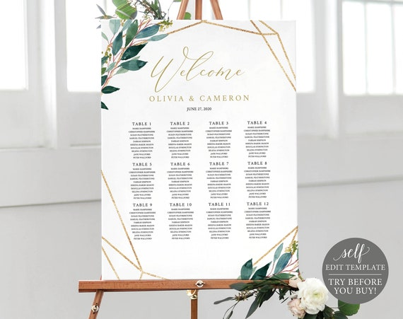 TRY BEFORE You BUY! Seating Plan Template, Fully Editable Greenery Wedding Chart Printable, Instant Download