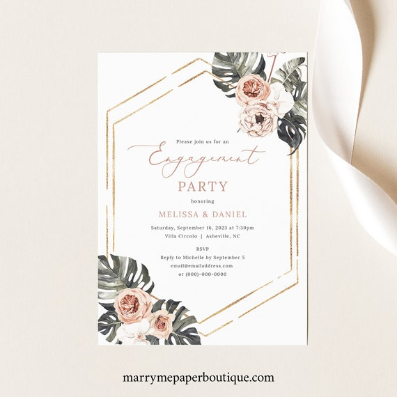 Engagement Party Invitation Template, Tropical Leaf, Dusky Pink Flowers, Printable Engagement Party Invite, Templett INSTANT Download