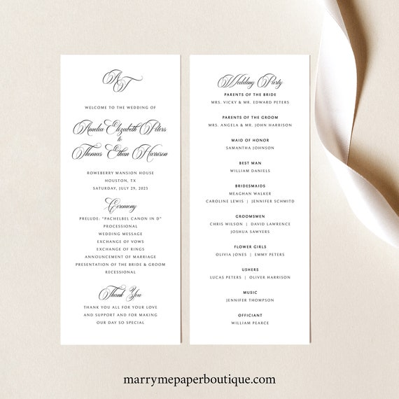 Wedding Program Template, Traditional Wedding Calligraphy, Monogram, Wedding Ceremony Program, Printable, Templett INSTANT Download