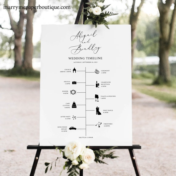 Wedding Timeline Sign Template, Elegant Script, Wedding Itinerary Sign, Order of Events Sign, Printable, Modern, Templett INSTANT Download