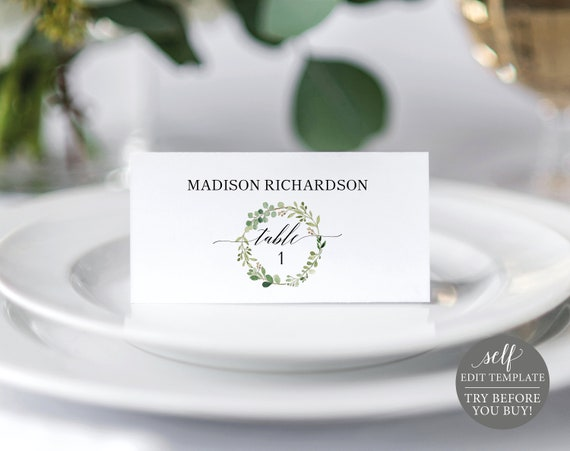 Place Card Template, TRY BEFORE You BUY, 100% Editable Instant Download, Greenery