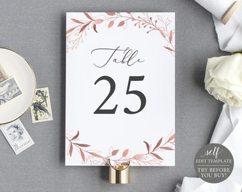 Table Number Template, TRY BEFORE You BUY, Fully Editable Instant Download, Rose Gold Leaf