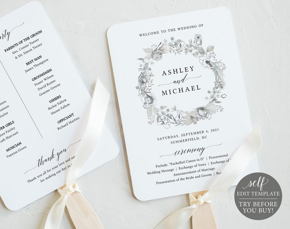 Wedding Program Fan Template, Neutral Floral, Editable Instant Download, TRY BEFORE You BUY
