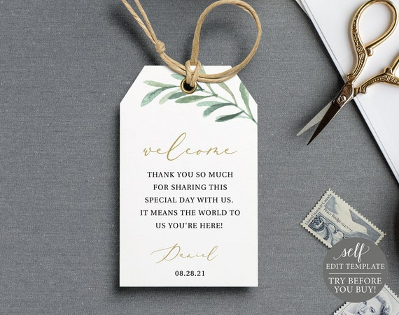 Favor Tag Template, Editable Instant Download, Greenery Leaf Welcome Tag, TRY BEFORE You BUY