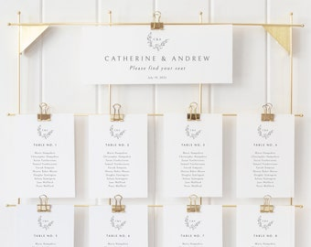 Seating Chart Template, Printable Seating Cards, Templett Instant Download, Try Before Purchase, Elegant Monogram