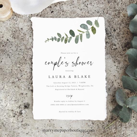 Eucalyptus Couples Shower Invitation Template, Greenery, Editable, Printable, Templett, INSTANT Download