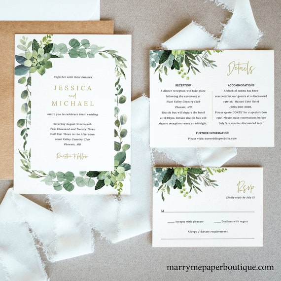 Wedding Invitation Template Set, Lush Greenery, Printable Wedding Invite Suite, Details & RSVP, Templett, Editable, INSTANT Download