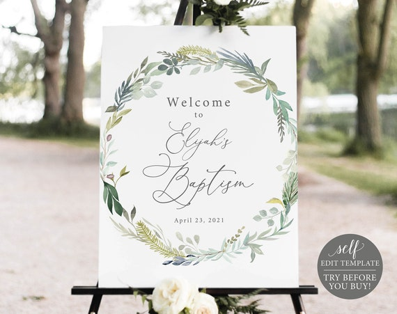 Baptism Welcome Sign Template, Greenery & Blue, Templett, Demo Available, Editable Printable Instant Download