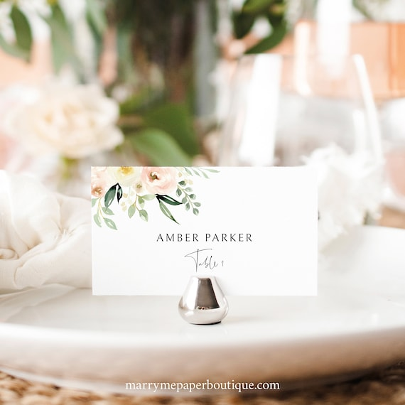 Wedding Place Card Template, Pink Floral Greenery, Ivory, Wedding Seating Card Printable, INSTANT Download, Templett, Editable