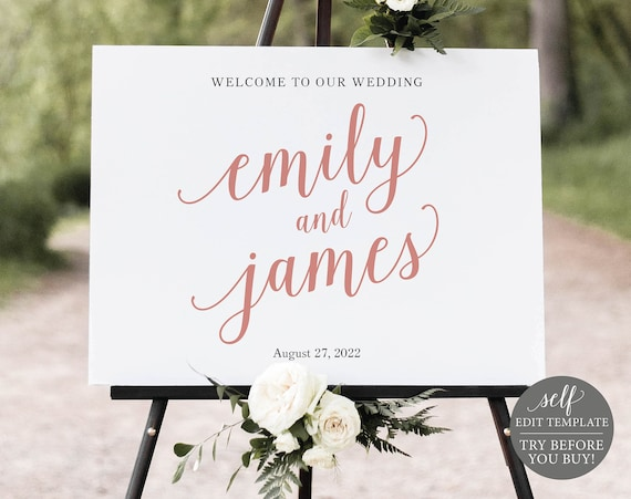 Wedding Welcome Sign Template, Editable & Printable Instant Download, Templett, TRY BEFORE You BUY, Rose Gold Script
