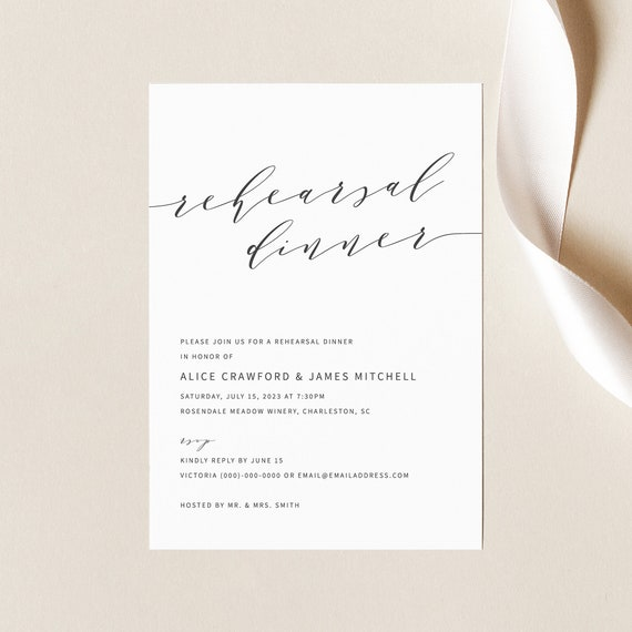 Rehearsal Dinner Invitation Template, Modern Elegant, Rehearsal Dinner Invite, Printable, Editable, Templett INSTANT Download