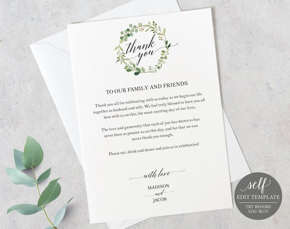 Greenery Wedding Thank You Card Template, Printable Thank You Card, Editable Thank You Card, Table Card, Instant Download