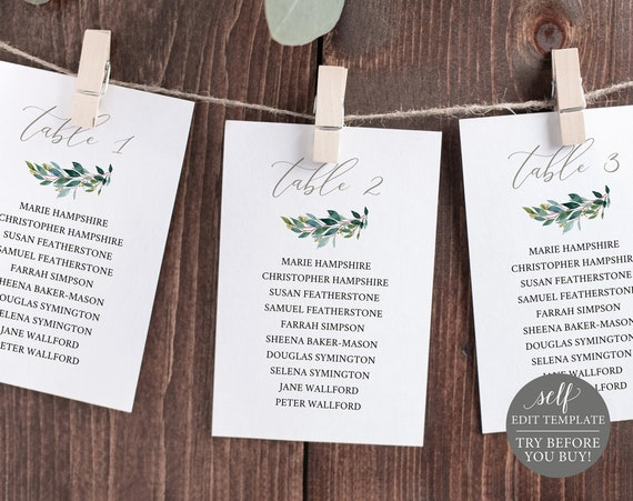 Wedding Seating Cards Template, Silver & Greenery, Editable Printable Instant Download, Demo Available