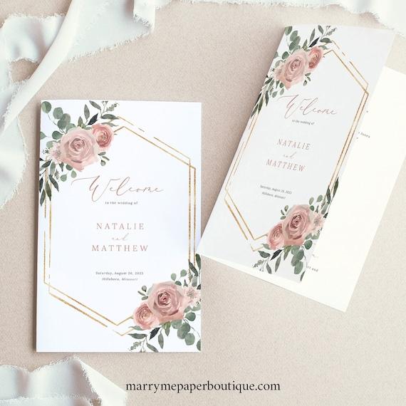 Wedding Ceremony Program Template, Dusky Pink Floral, Folded Wedding Program, Printable, Editable, Templett INSTANT Download