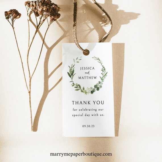 Favor Tag Template, Editable Gift Tag Printable, Templett Instant Download, Try Before Purchase, Elegant Greenery