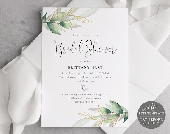 Bridal Shower Invitation Template, Greenery Gold, Editable Instant Download, Free Demo Available