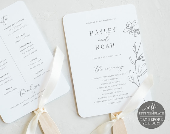 Wedding Program Fan Template, TRY BEFORE You BUY, Elegant Botanical, Editable Instant Download