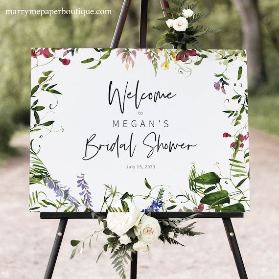 Bridal Shower Sign Template, Summer Garden Greenery, Bridal Shower Welcome Sign Printable, Editable, Templett INSTANT Download