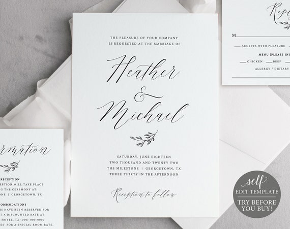 Wedding Invitation Template Set, Editable Instant Download, FREE Demo Available, Delicate Script