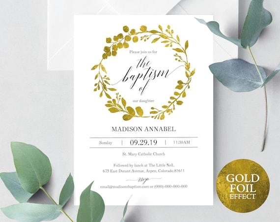 Faux Gold Baptism Invitation Template, Printable Baptism Invitation, Printable Baptism Invite Template, Gold, PDF Instant Download MM07-3