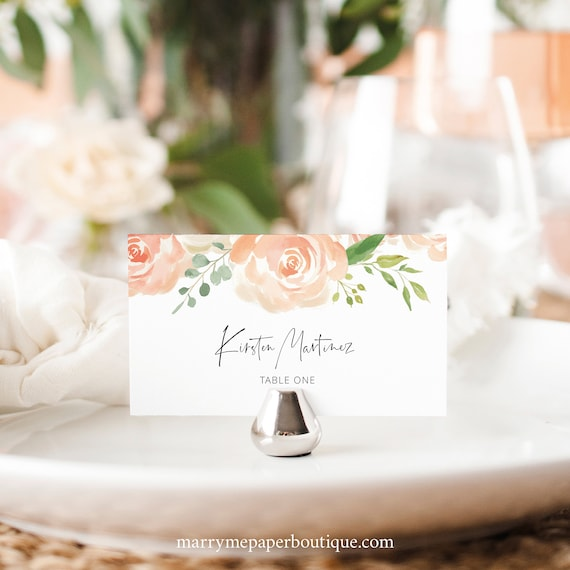 Place Card Template, Peach Floral, Editable Instant Download, TRY BEFORE You BUY