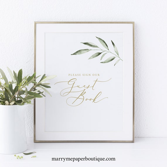 Guest Book Sign Template, Non-Editable Instant Download, Greenery Olive Leaves