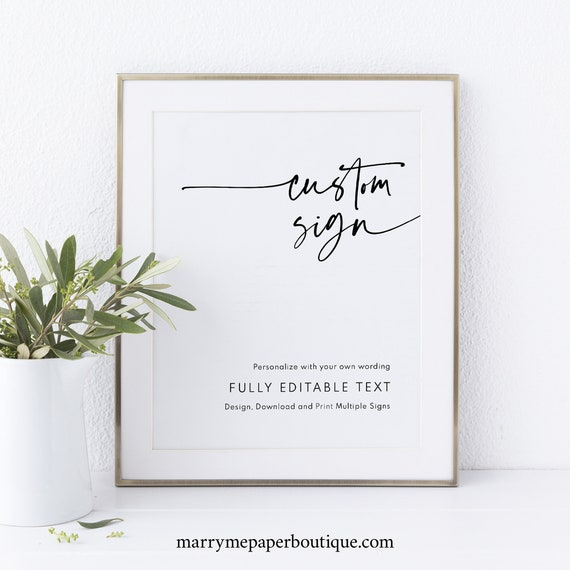 Wedding Sign Bundle Template, Modern Contemporary, Clean Simple Wedding Signs, Printable, Editable, Templett INSTANT Download, Vertical