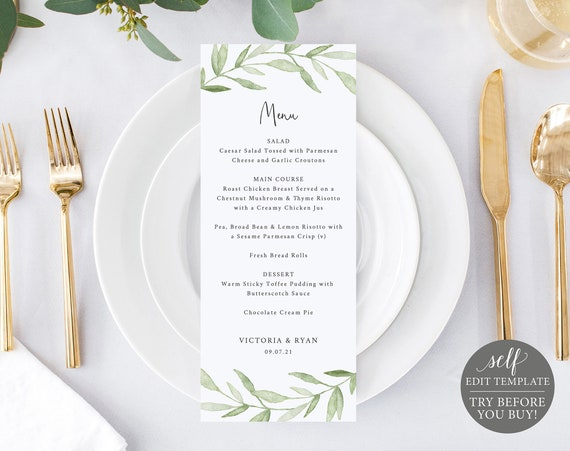 Menu Template, TRY BEFORE You BUY, Editable Instant Download, Greenery Leaves