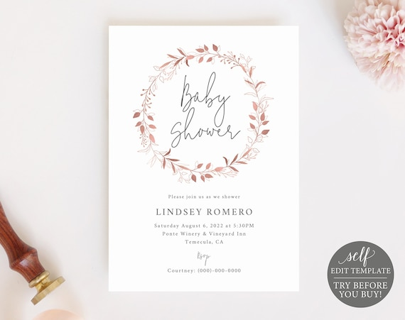 Baby Shower Invitation Template, Order Edit & Download In Minutes, Try Before Purchase, Rose Gold Wreath