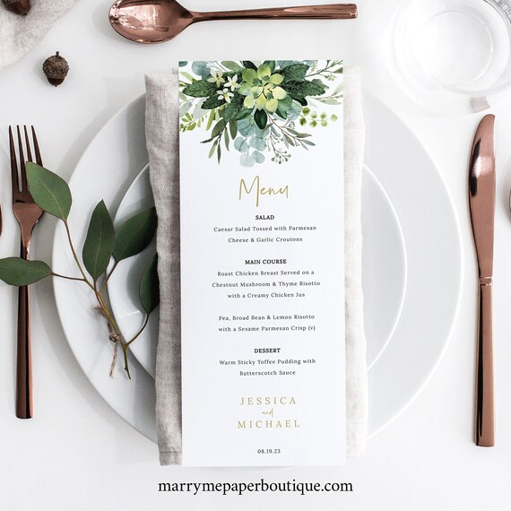Wedding Menu Template, Lush Greenery, Wedding Dinner Menu, Printable, Editable, Templett INSTANT Download