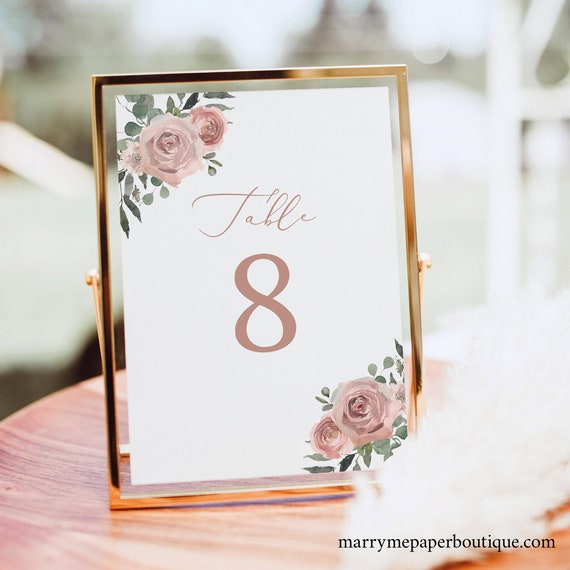 Table Number Template, Dusky Pink Floral, Editable Wedding Table Number Sign Printable, Templett INSTANT Download