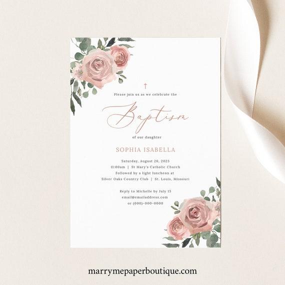 Baptism Invitation Template, Dusky Pink Floral, Baptism Invite Printable, Editable, Dusty Pink, Templett INSTANT Download