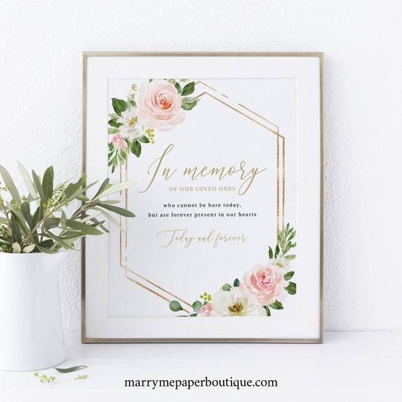 In Memory Sign Template, Editable Template, Instant Download, Blush Floral Hexagon