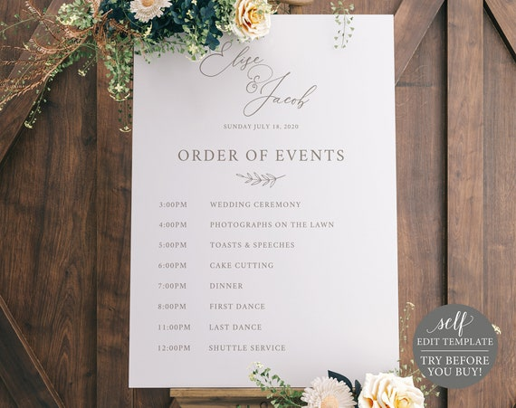 Wedding Itinerary Sign, TRY BEFORE You BUY, 100% Editable Instant Download, Elegant