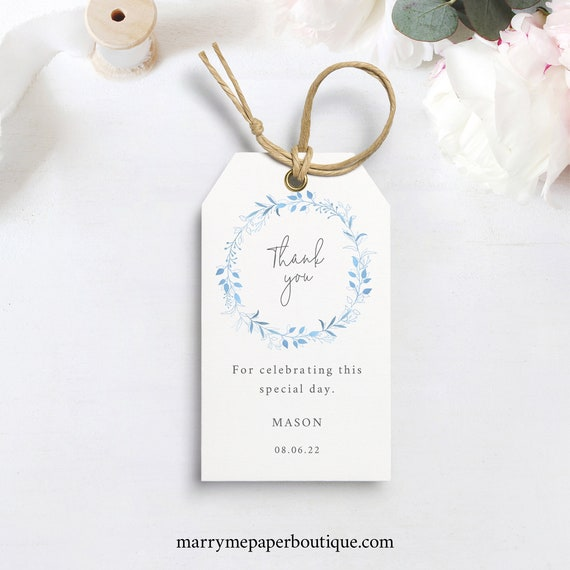 Favor Tag Template, Printable Gift Tag, Light Blue Wreath, INSTANT Download, Editable, Templett