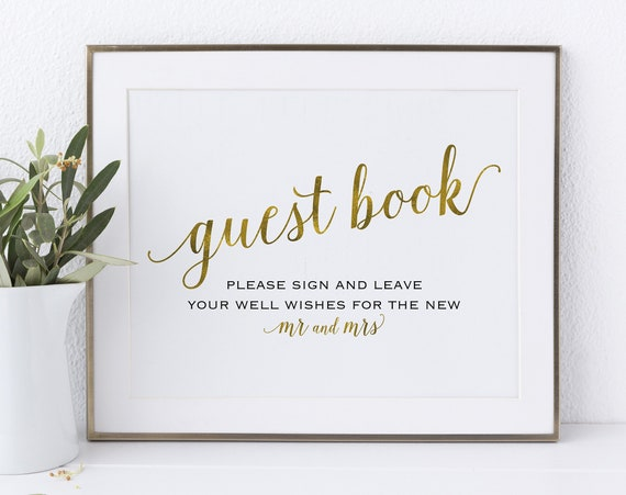 Gold Guest Book Sign, Please Sign our Guest Book, Guest Book Printable, Mr & Mrs Sign, Wedding Printable Sign, PDF Instant Download, MM01-3