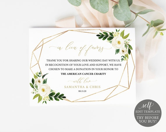 In Lieu of Favors Card Template, Editable Instant Download, White Floral, TRY BEFORE You BUY