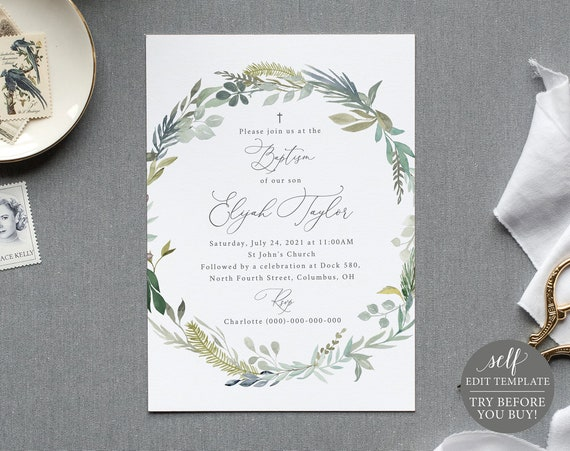 Baptism Invitation Template, Green & Blue Floral, TRY BEFORE You BUY,  Editable Instant Download