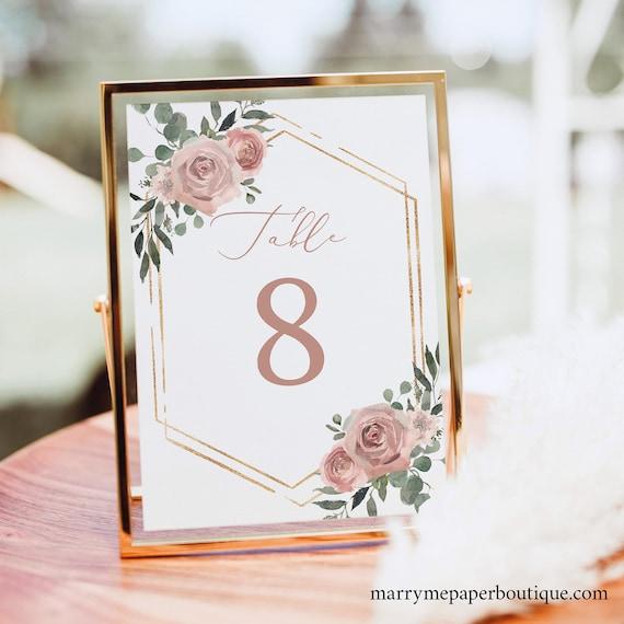 Table Number Template, Dusky Pink Floral, Wedding Table Number Sign Printable, Editable, Templett INSTANT Download