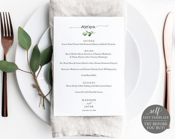 Wedding Menu Template, Greenery Leaf Printable Menu Card, 5x7, Instant Download, 100% Editable Menu, TRY BEFORE You BUY