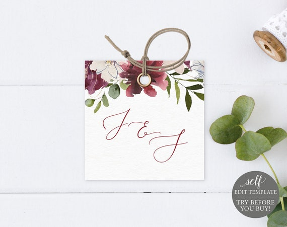 Monogram Tag Template, Burgundy Floral, Editable Instant Download, TRY BEFORE You BUY