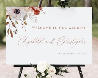 Wedding Welcome Sign Template, Fall Floral, Welcome To Our Wedding Sign, Printable, Editable, Fall Wedding, Templett INSTANT Download