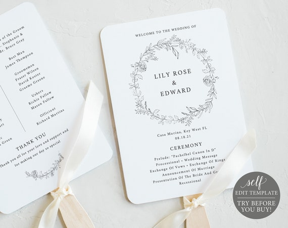 Wedding Program Fan Template, Botanical Floral, Fully Editable Instant Download, TRY BEFORE You BUY