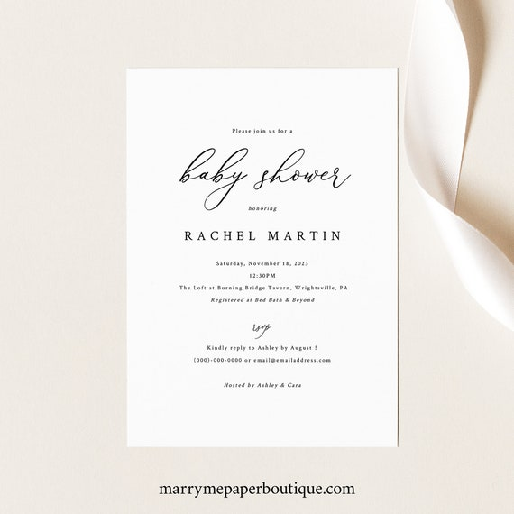 Baby Shower Invitation Template, Elegant & Refined, Baby Shower Invite, Printable, Fully Editable, Templett, INSTANT Download