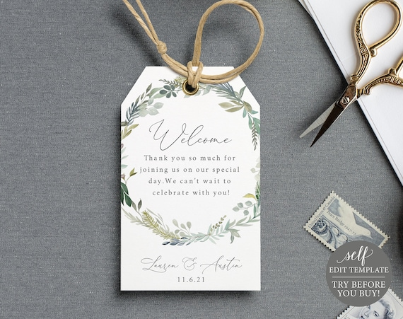 Welcome Tag Template, Greenery & Blue, TRY BEFORE You BUY, Fully Editable Instant Download