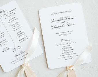 Wedding Program Fan Template, Elegant Romantic Script, Wedding Ceremony Fan Program, Printable, Editable, Templett INSTANT Download