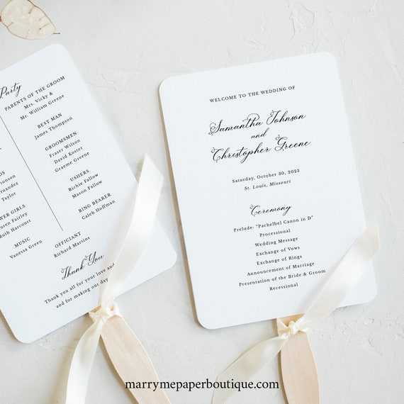 Wedding Program Fan Template, Elegant Romantic Script, Wedding Ceremony Fan Program, Printable, Editable, Templett INSTANT Download
