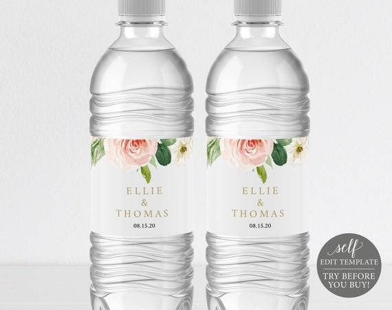 Water Bottle Label Template, Pink Blush Floral, Self-Edit Instant Download, TRY BEFORE You BUY