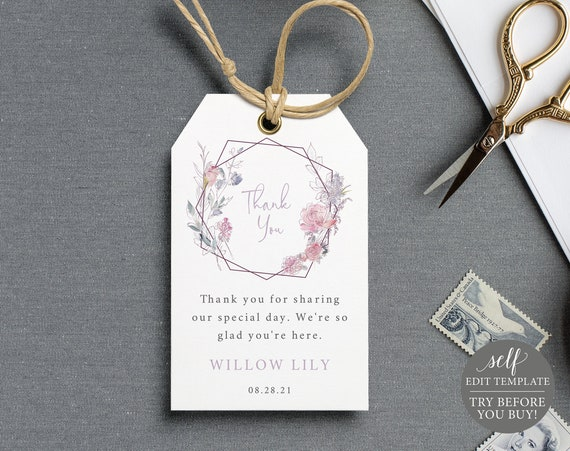 Thank You Tag Template, TRY BEFORE You BUY, Editable Instant Download, Pink & Lilac Floral